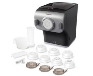 Philips HR2358 Pasta Maker, Automatisches Mischen, Kneten und Ausgeben, 200 W, 8 Aufsätze integrierte Waage